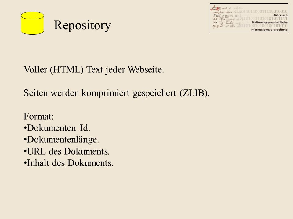 Repository Voller (HTML) Text jeder Webseite.