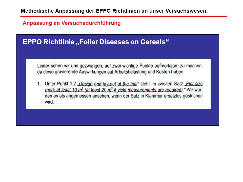 "EPPO Richtlinie ""Foliar Diseases on Cereals"
