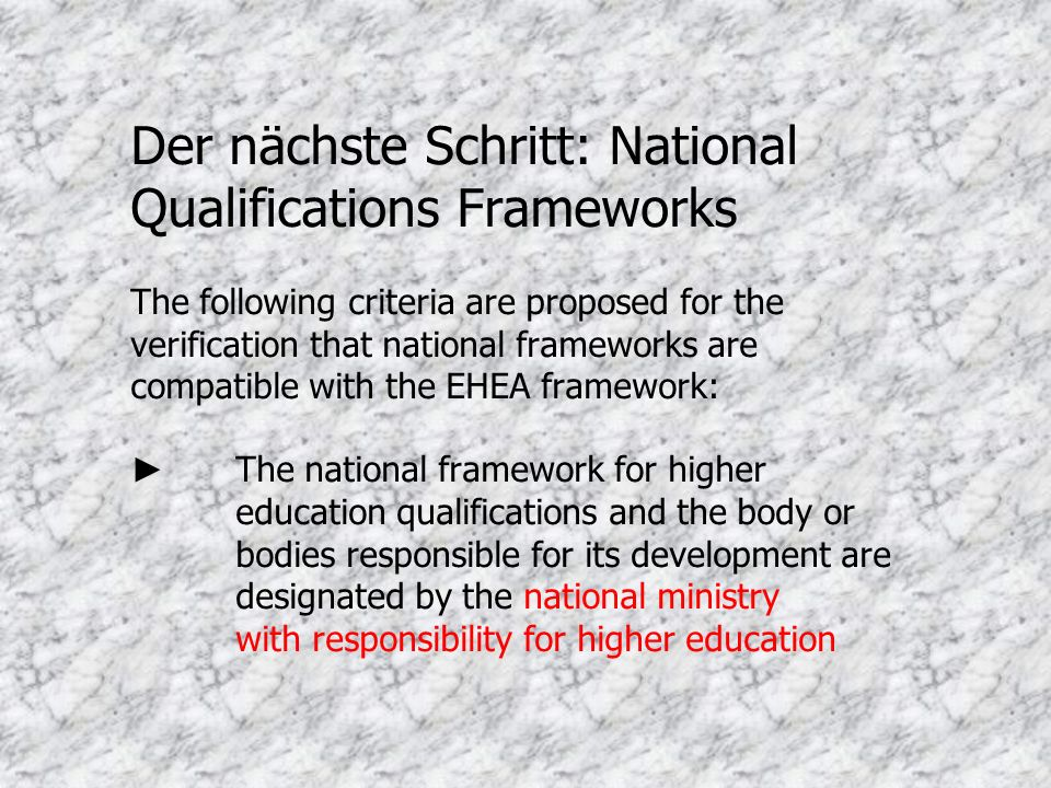 Der nächste Schritt: National Qualifications Frameworks The following criteria are proposed for the verification that national frameworks are compatible with the EHEA framework: ► The national framework for higher education qualifications and the body or bodies responsible for its development are designated by the national ministry with responsibility for higher education