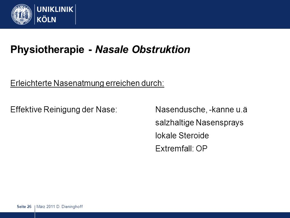 Physiotherapie - Nasale Obstruktion
