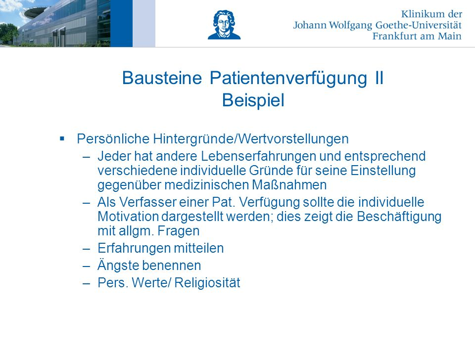 bausteine patientenverfgung ii beispiel - Patientenverfugung Beispiel