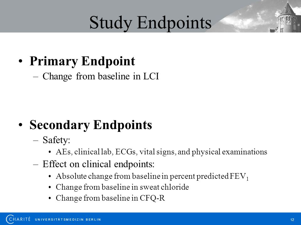 Study Endpoints Primary Endpoint Secondary Endpoints