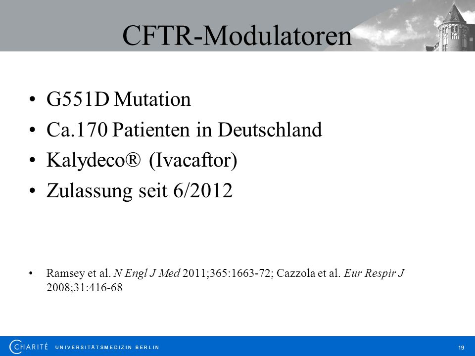 CFTR-Modulatoren G551D Mutation Ca.170 Patienten in Deutschland