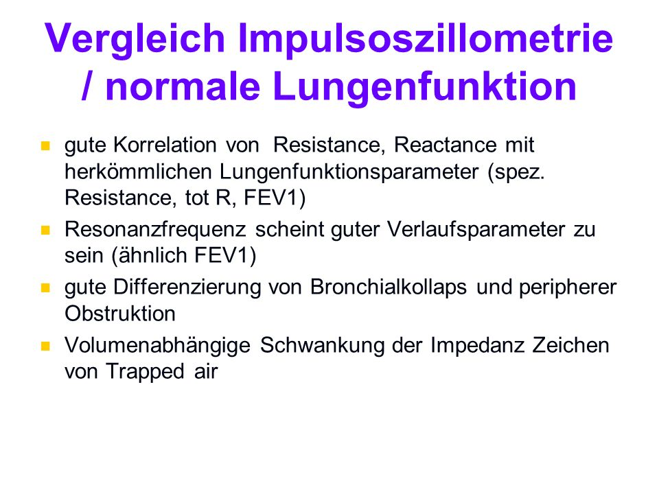 Vergleich Impulsoszillometrie / normale Lungenfunktion