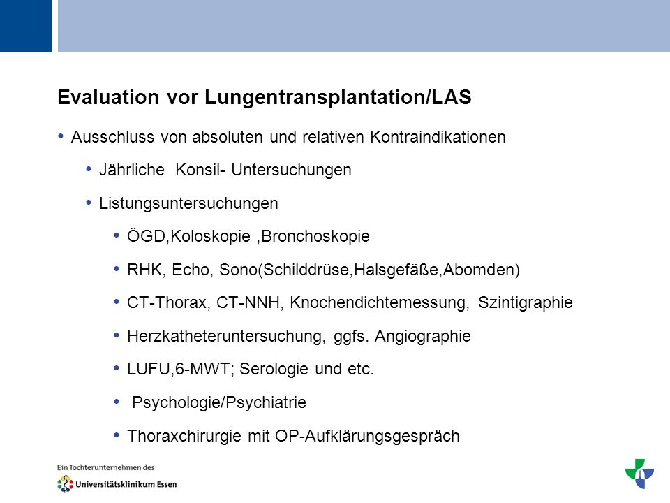 Evaluation vor Lungentransplantation/LAS