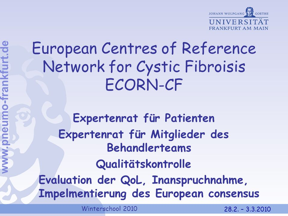 European Centres of Reference Network for Cystic Fibroisis ECORN-CF