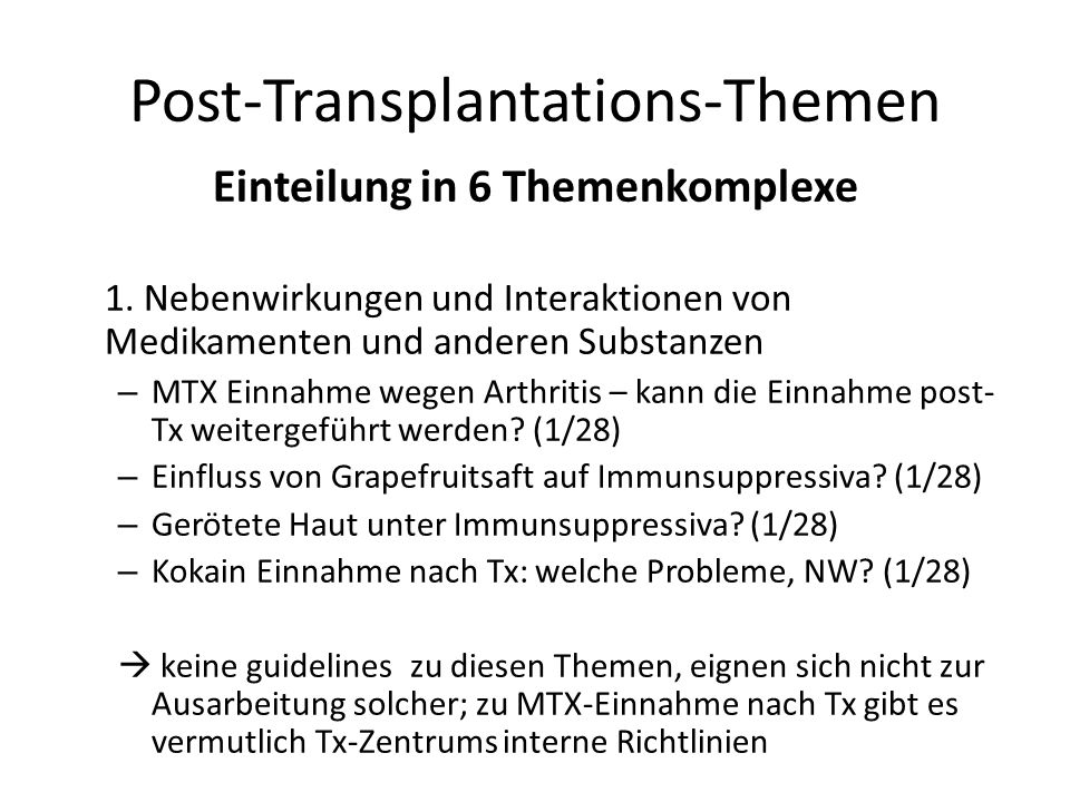 Post-Transplantations-Themen