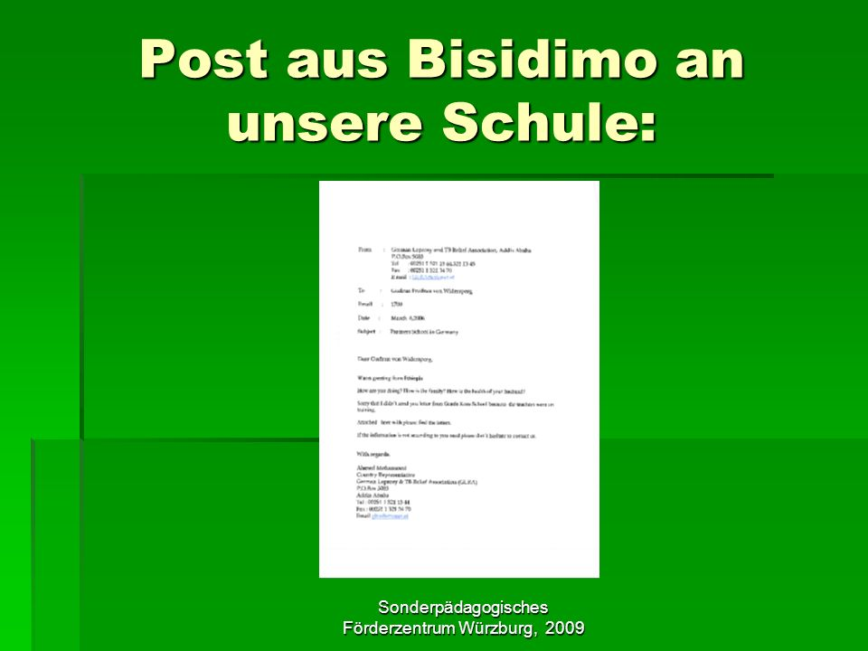 Post aus Bisidimo an unsere Schule: