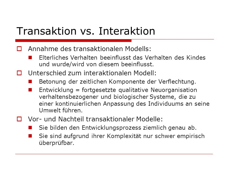 Transaktion vs. Interaktion