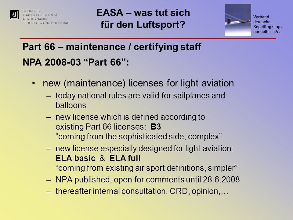 Part 66 – maintenance / certifying staff