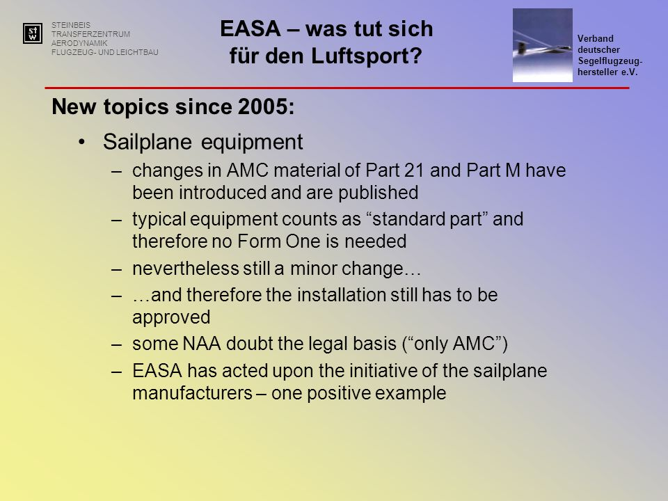 New topics since 2005: Sailplane equipment