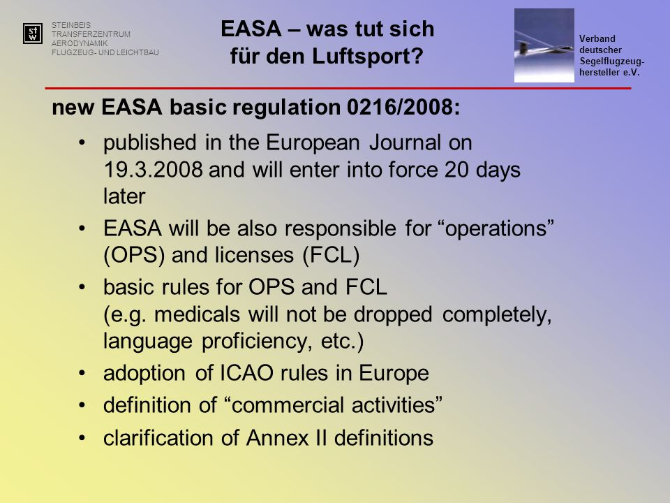 new EASA basic regulation 0216/2008: