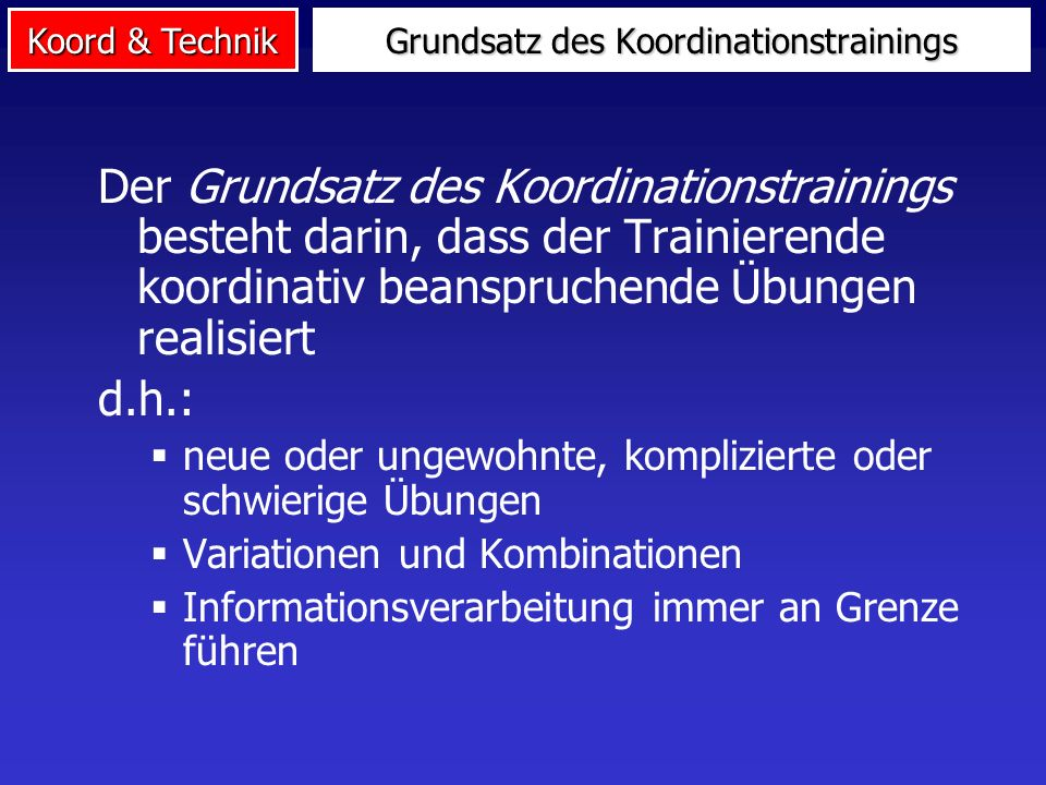 Grundsatz des Koordinationstrainings