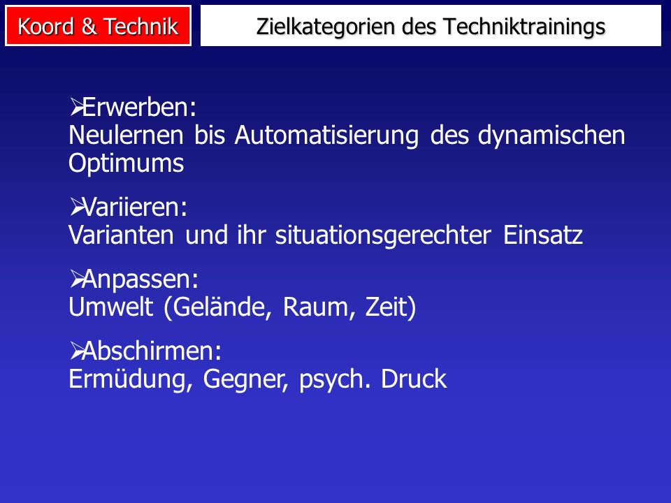Zielkategorien des Techniktrainings