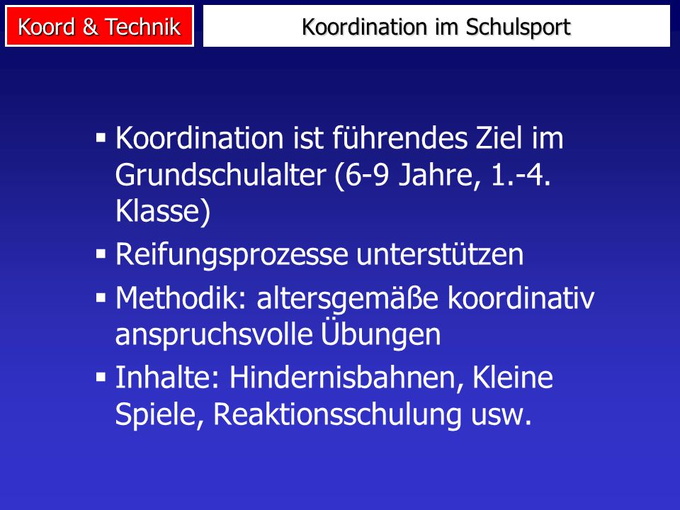 Koordination im Schulsport