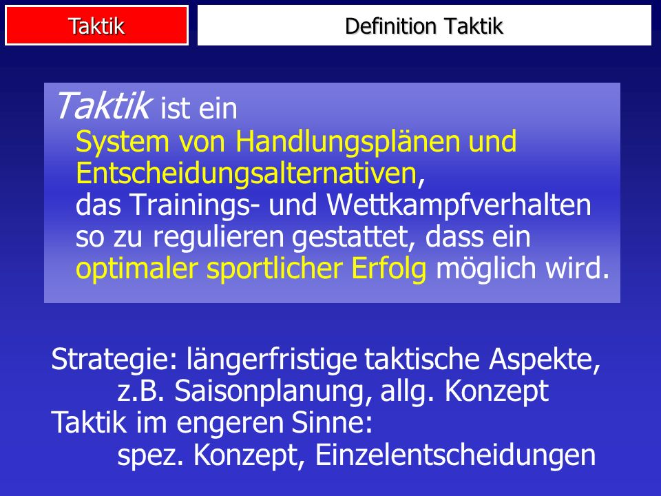 Definition Taktik