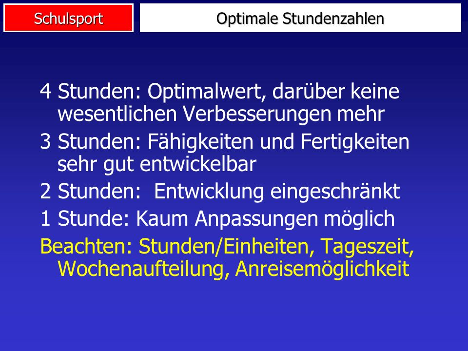Optimale Stundenzahlen