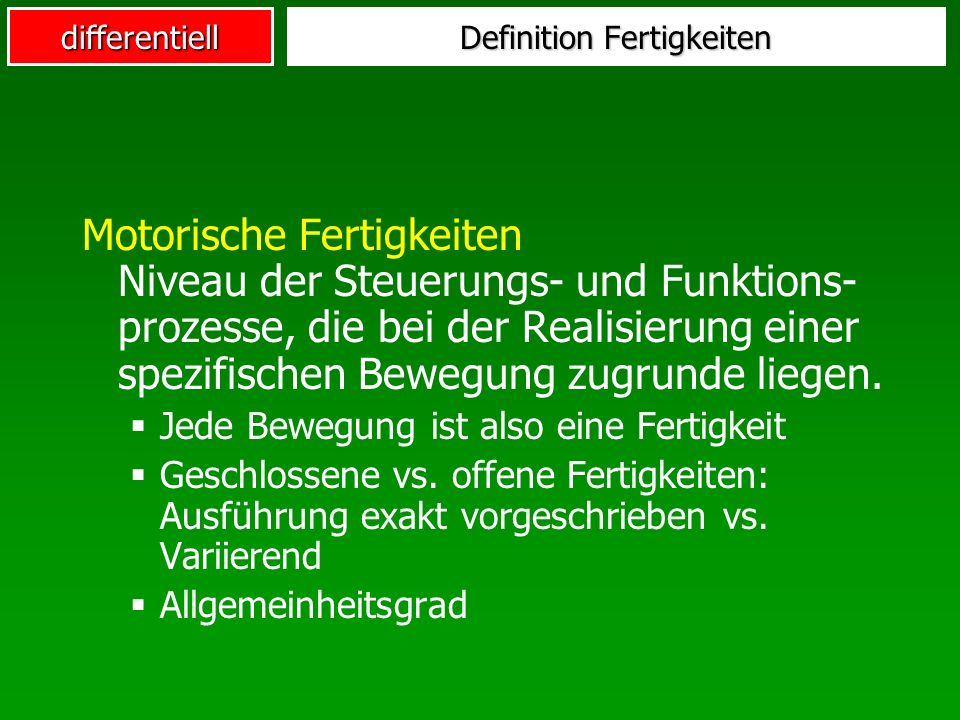Definition Fertigkeiten