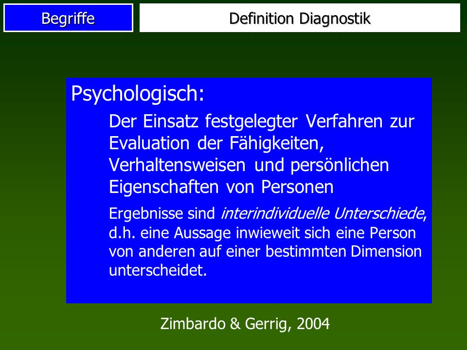 Definition Diagnostik