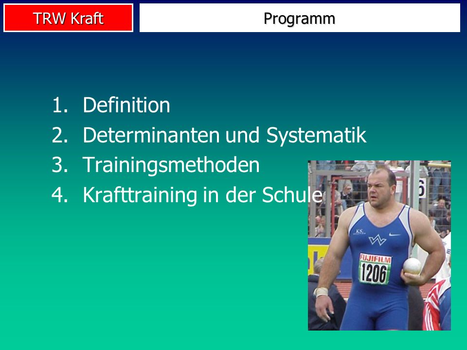 Determinanten und Systematik Trainingsmethoden