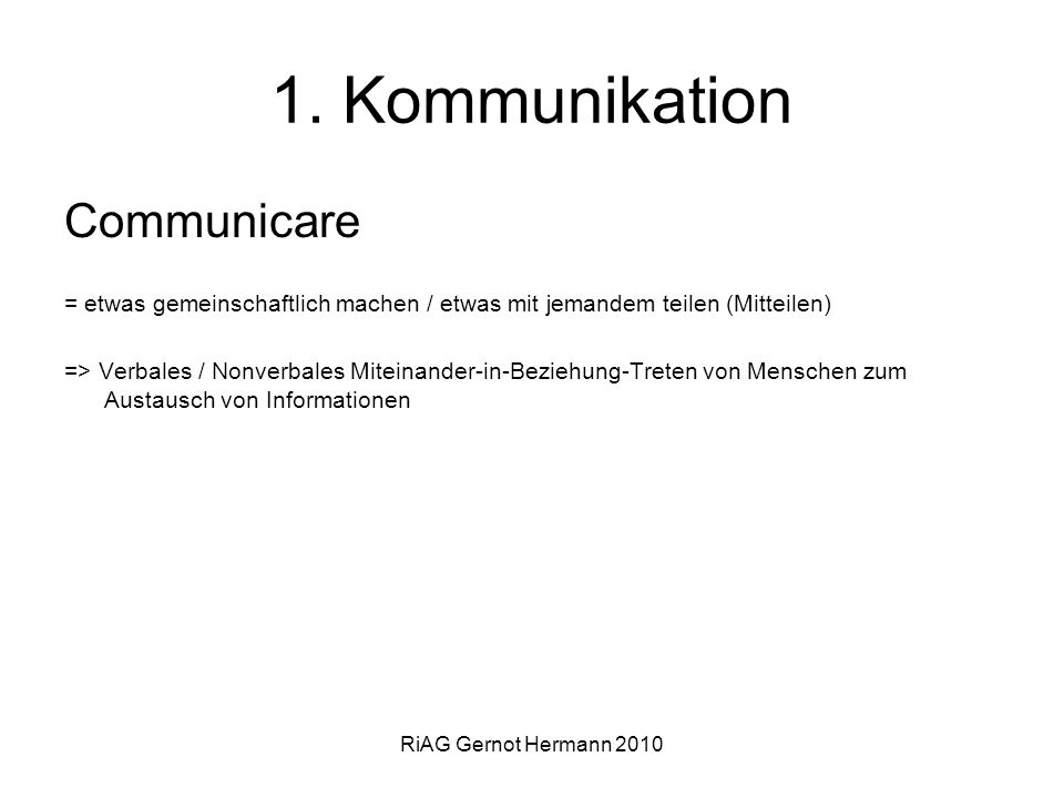 1. Kommunikation Communicare