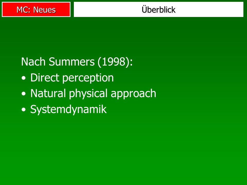 Natural physical approach Systemdynamik