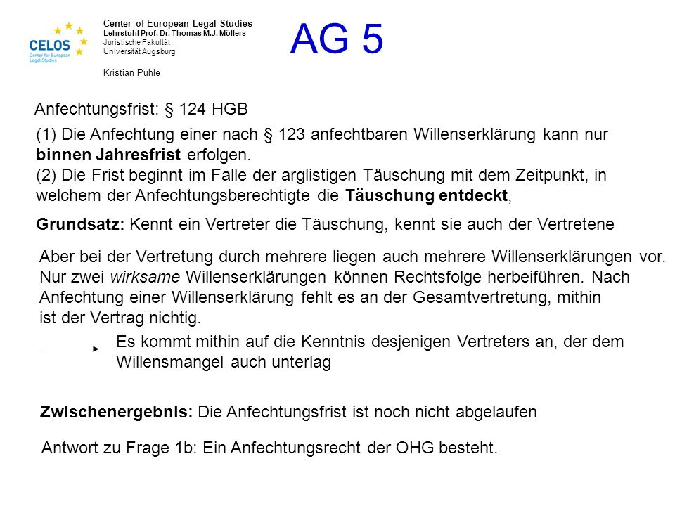 Anfechtungsfrist: § 124 HGB