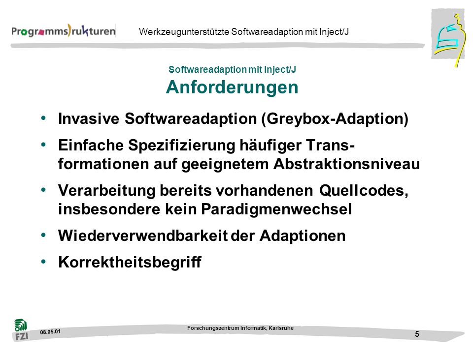 Softwareadaption mit Inject/J Anforderungen