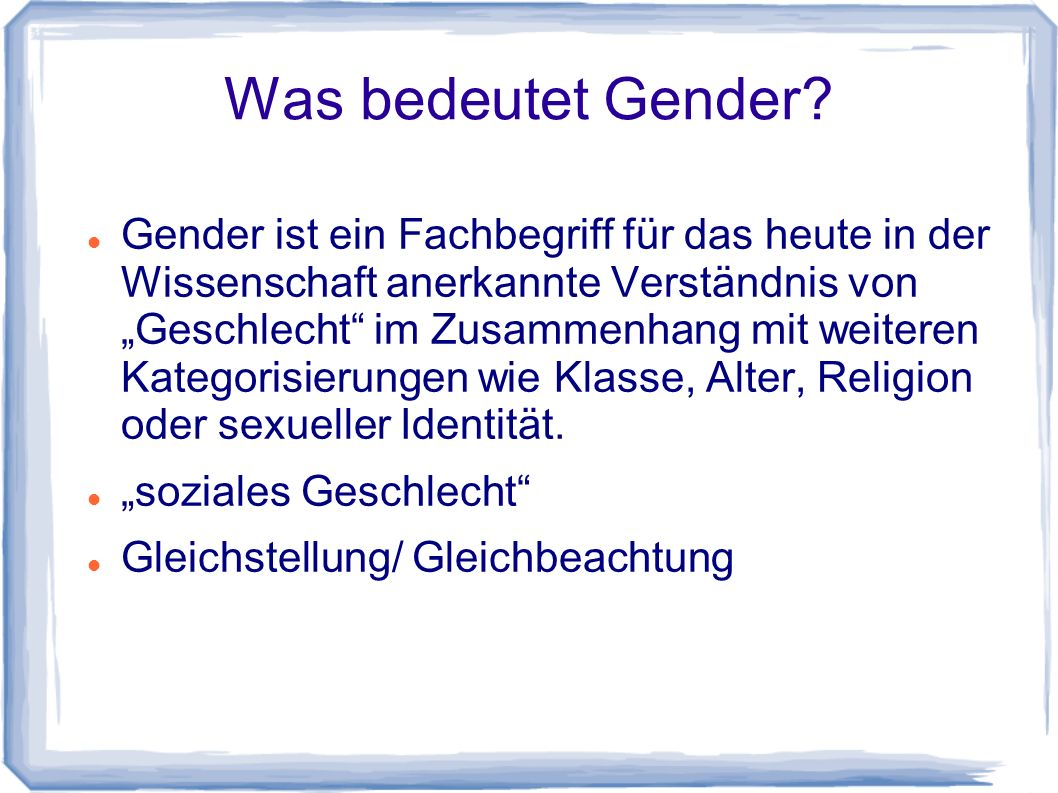 Was bedeutet Gender