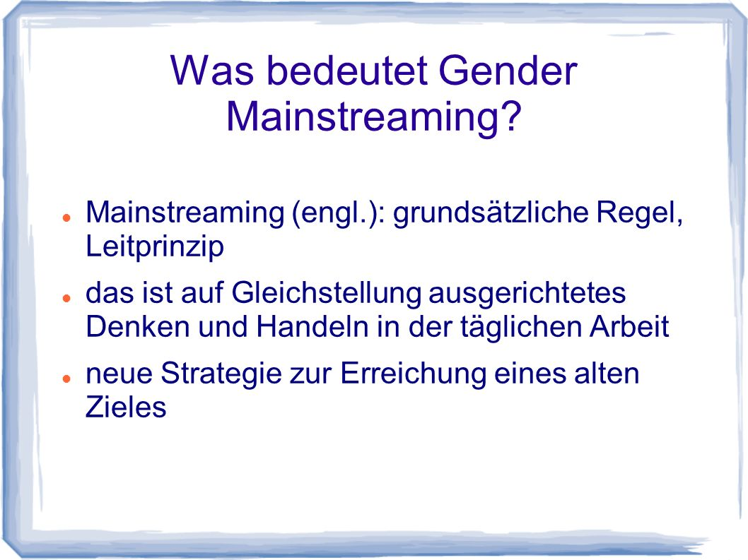 Was bedeutet Gender Mainstreaming