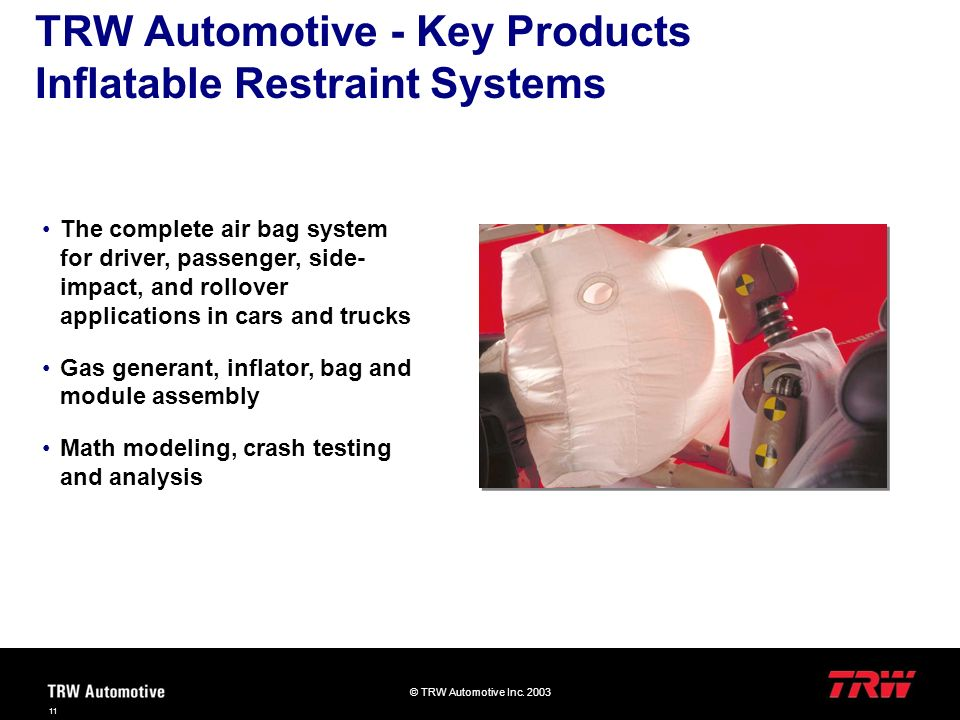 TRW Automotive - Key Products Inflatable Restraint Systems