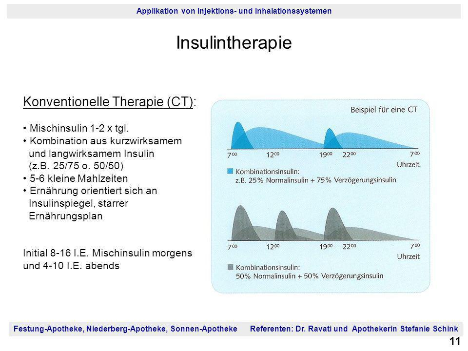 Insulintherapie Konventionelle Therapie (CT): Mischinsulin 1-2 x tgl.