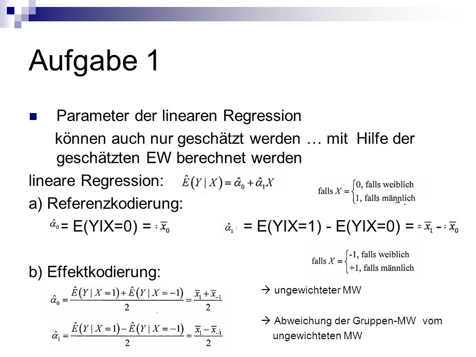 Aufgabe 1 Parameter der linearen Regression