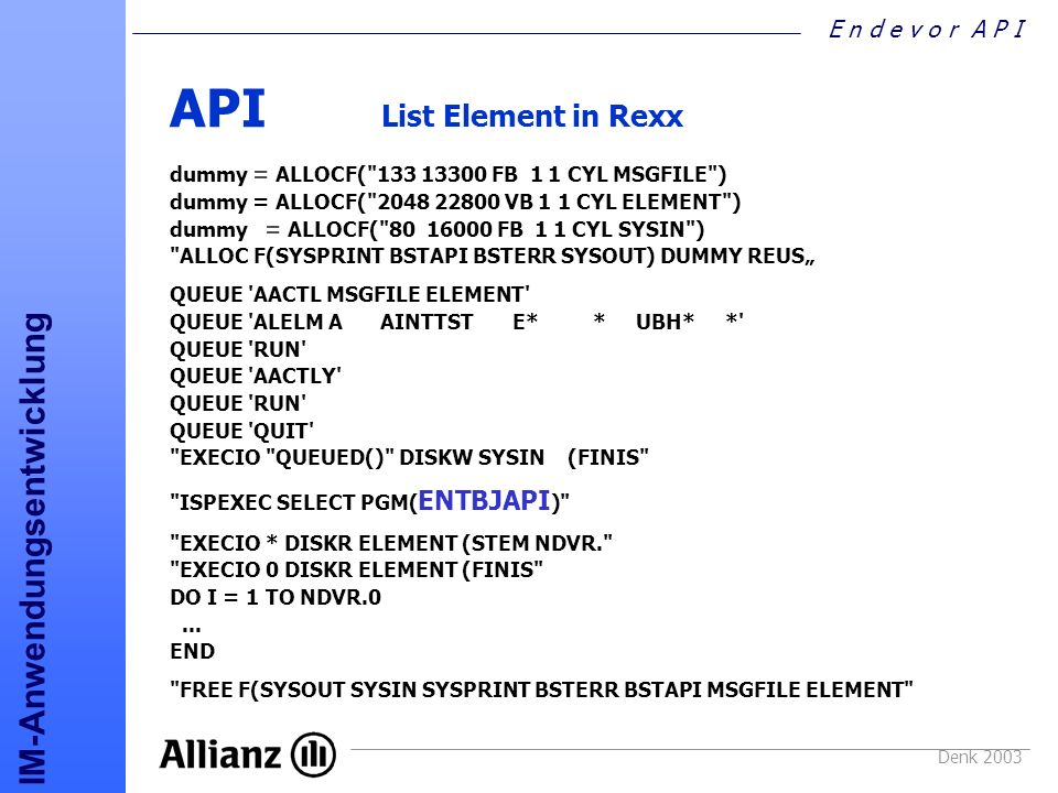 API List Element in Rexx