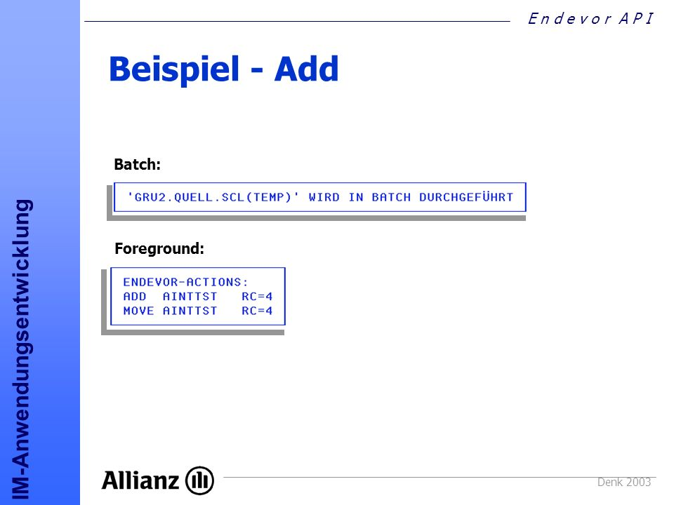 Beispiel - Add Batch: Foreground: Denk 2003