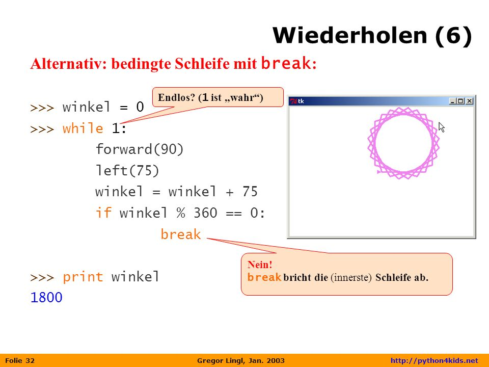 Wiederholen (6) Alternativ: bedingte Schleife mit break: