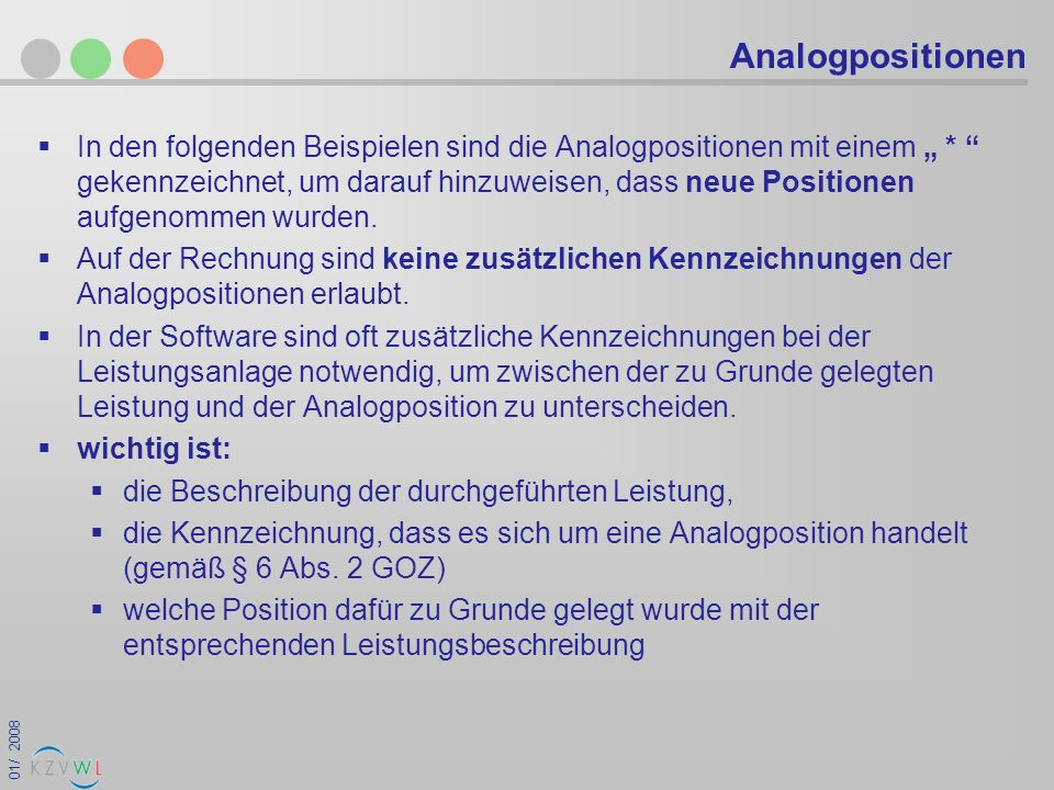 Analogpositionen