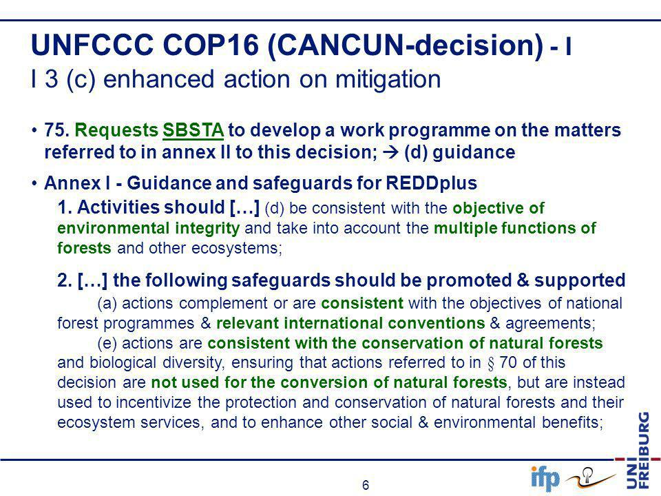 UNFCCC COP16 (CANCUN-decision) - I I 3 (c) enhanced action on mitigation