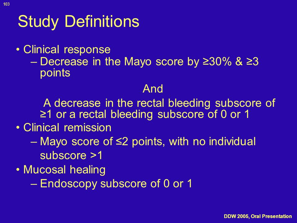 Study Definitions Clinical response