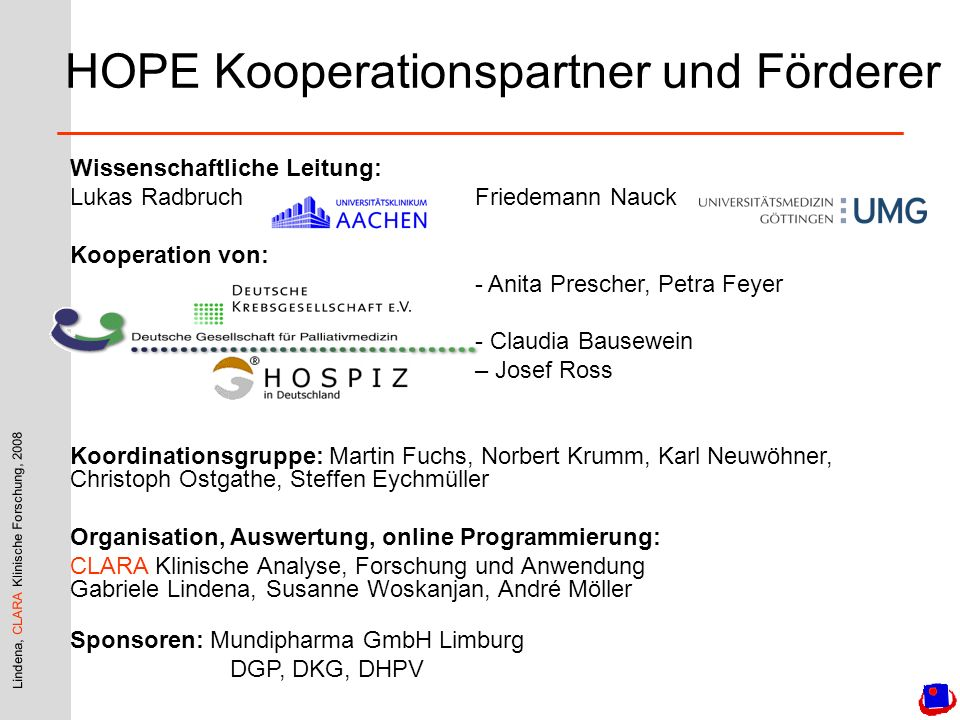 HOPE Kooperationspartner und Förderer