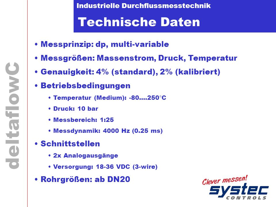 Technische Daten Messprinzip: dp, multi-variable