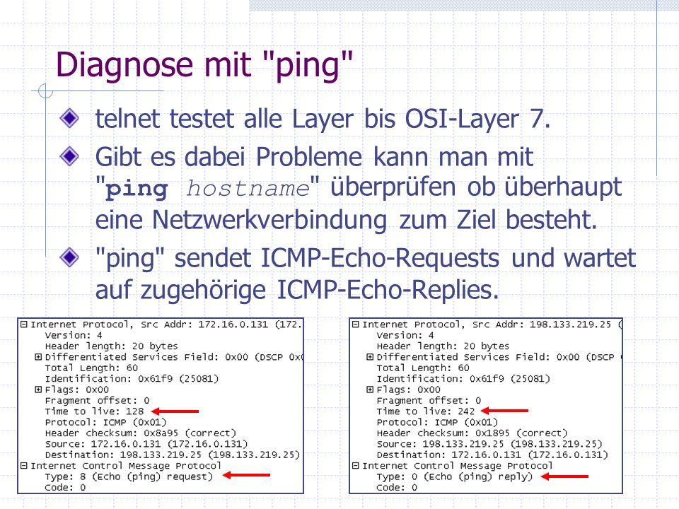 Diagnose mit ping telnet testet alle Layer bis OSI-Layer 7.