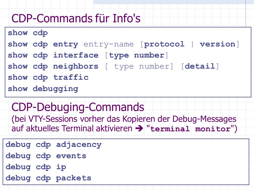 CDP-Commands für Info s