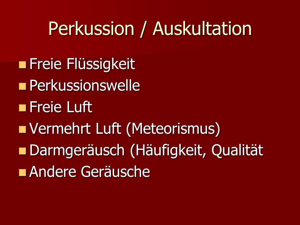 Perkussion / Auskultation