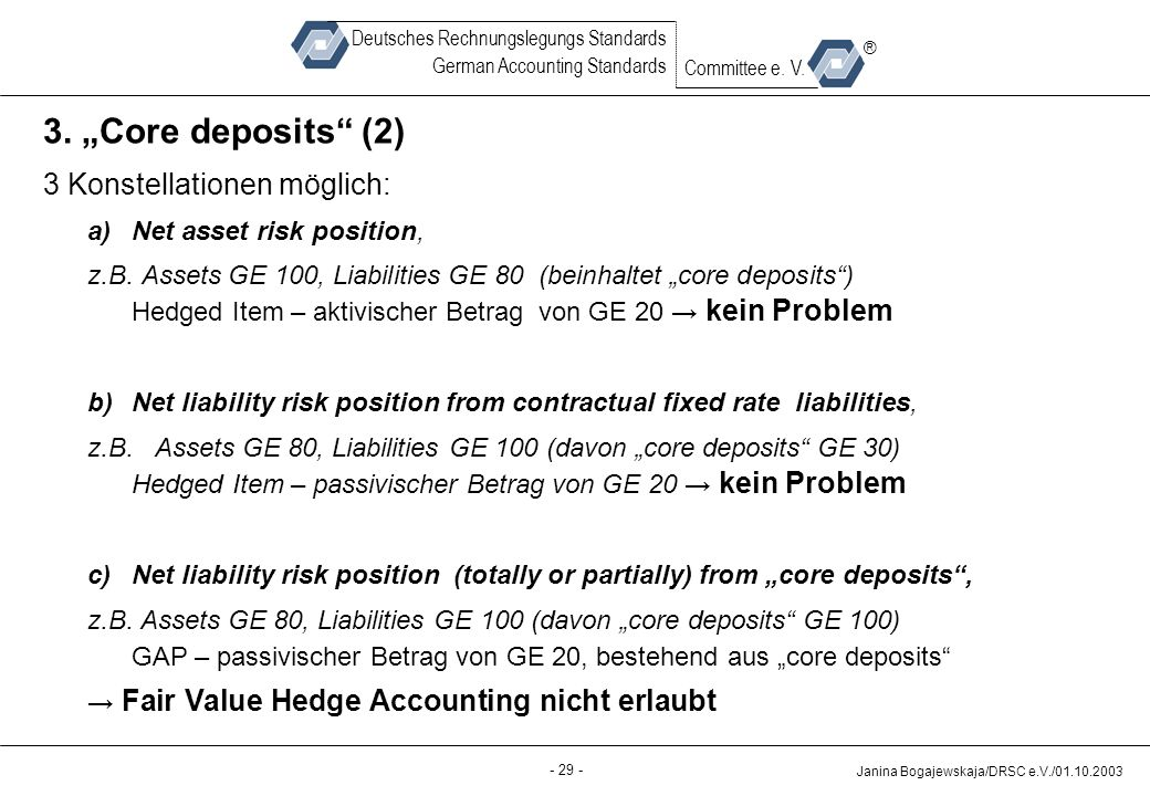 "3. ""Core deposits (2) 3 Konstellationen möglich:"