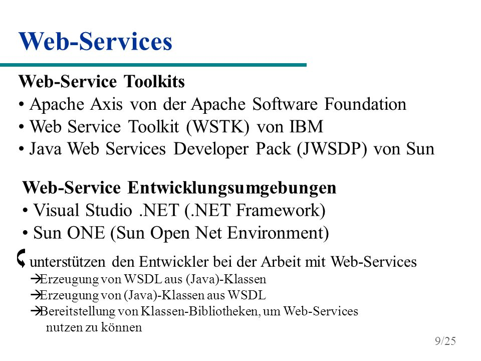 Web-Services Web-Service Toolkits