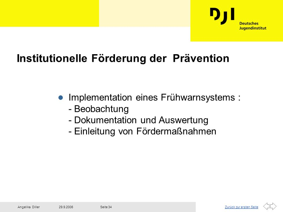 Institutionelle Förderung der Prävention