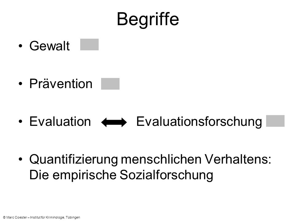 Begriffe Gewalt Prävention Evaluation Evaluationsforschung