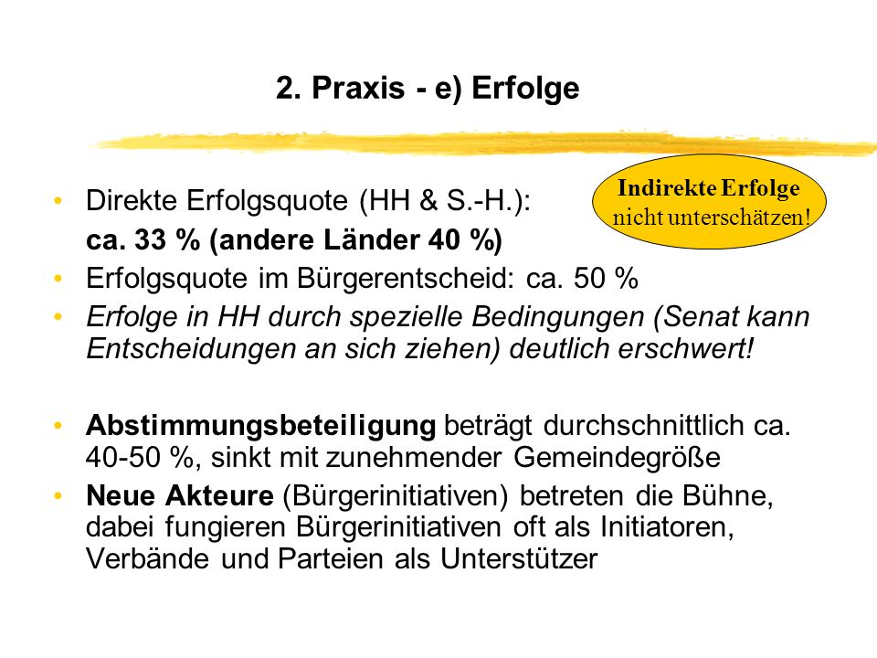 2. Praxis - e) Erfolge Direkte Erfolgsquote (HH & S.-H.):