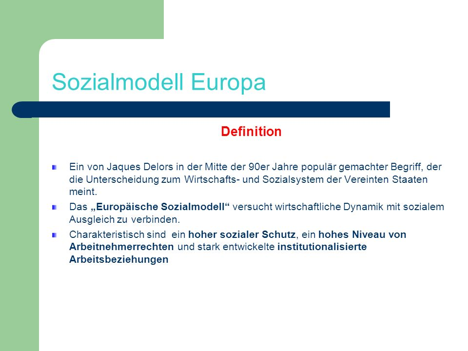 Sozialmodell Europa Definition